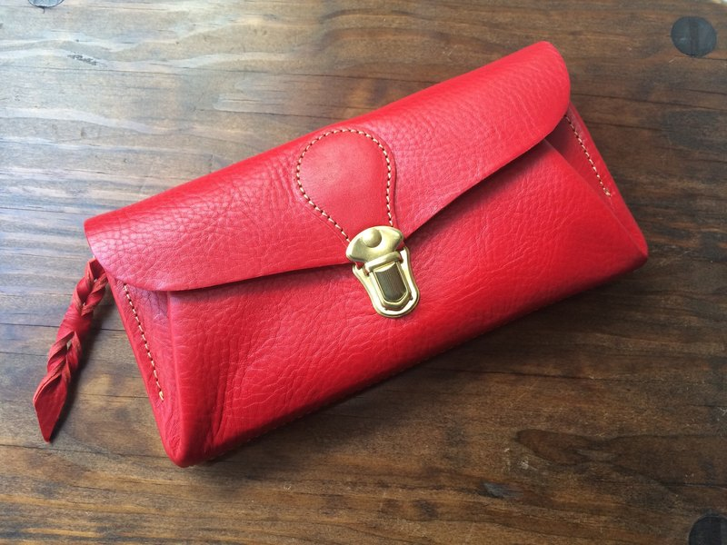 "Italian leather * wallet ""series-envelope"" Scarlet"