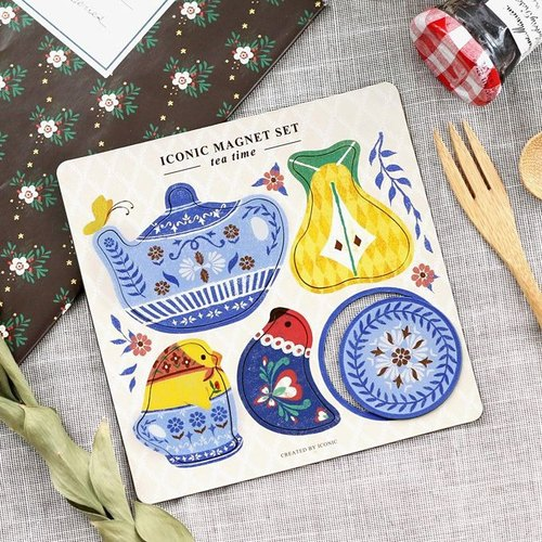 iconic-playful soft magnet set (5 in) - afternoon tea, ICO86802