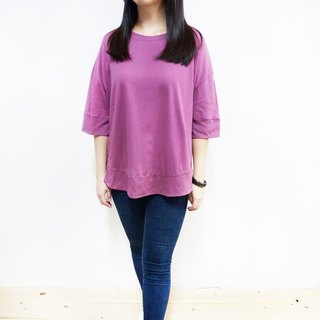 [MIT] wide sleeve slits arc collar round neck sweater