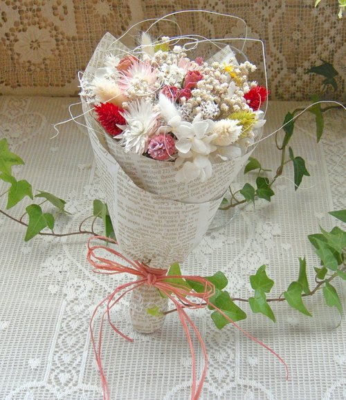"""Spring some"" immortalized dried bouquet anniversary gift"