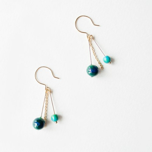 TeaTime / rainy blue-green turquoise beads + earrings ear hook / pure original handmade cute bunny earrings earrings imported materials