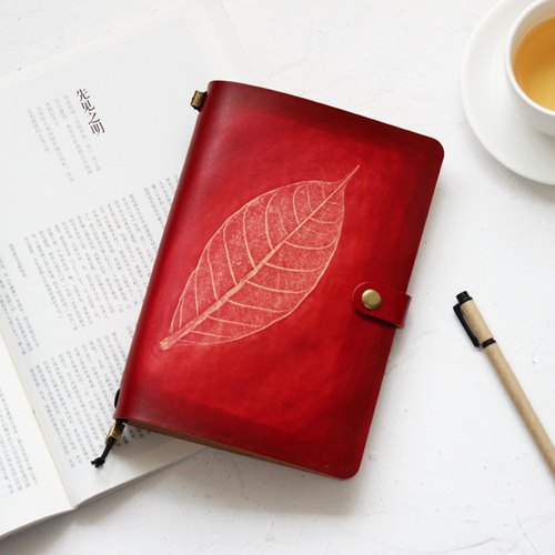 Such as eucalyptus leaves rubbing series of the first layer of vegetable tanned leather red a5 handbook notebook diary TN travel book 22*15.5cm