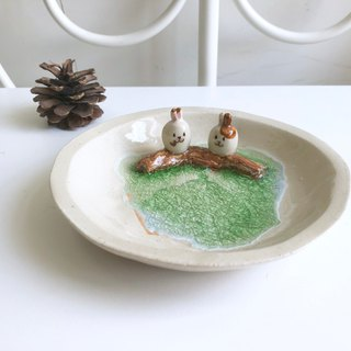 Bunny couple- Handmake Ceramic and glass Jewellery plate