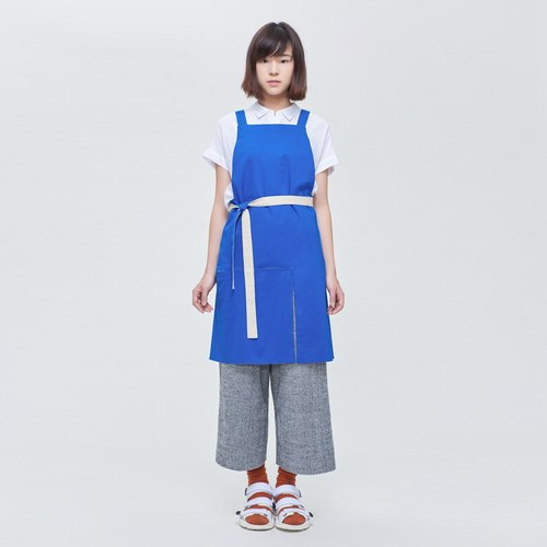rin city aprons AZURE - meter blue color to wear double-sided single staff person overalls pocket