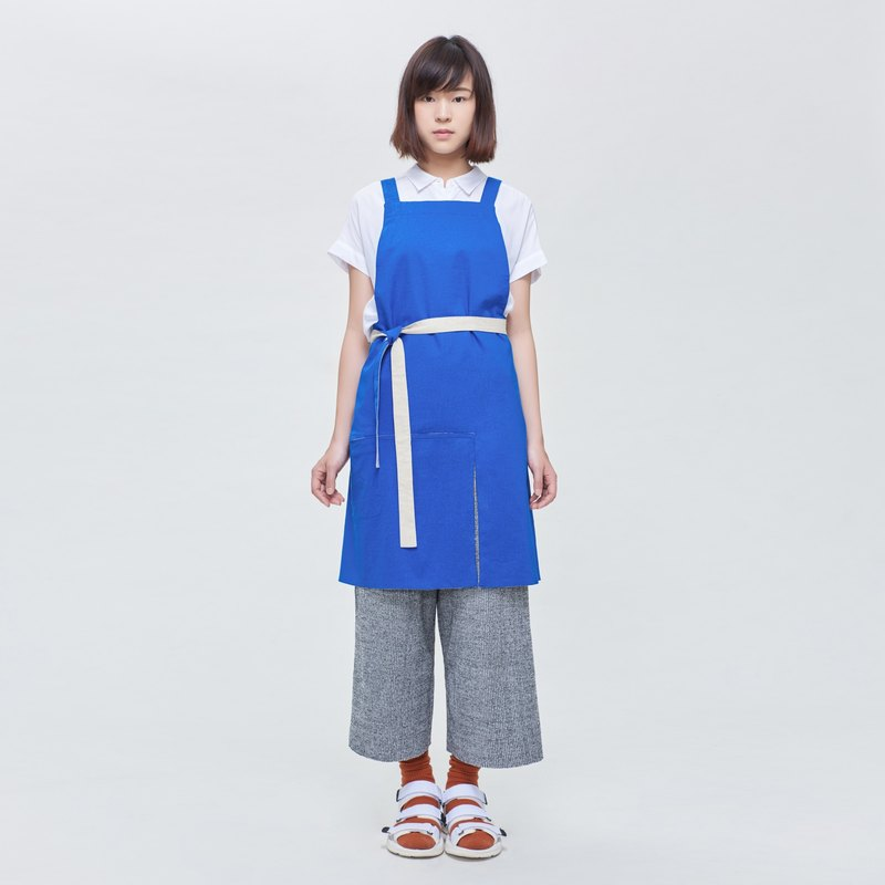 Rin City Apron AZURE - Mi blue double-sided double-sided wear a single pocket staff overalls