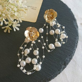 Flower & Shower Pearl Earrings, Earrings