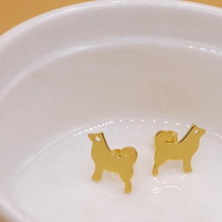 Handmade Little Dog earring - 18K Gold plated on brass