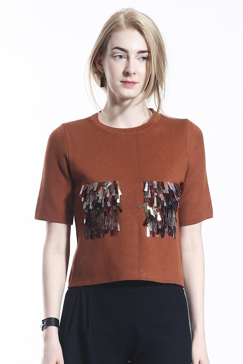 Modern Mocha Knit Top with Colourful Sequins Embellished Pocket