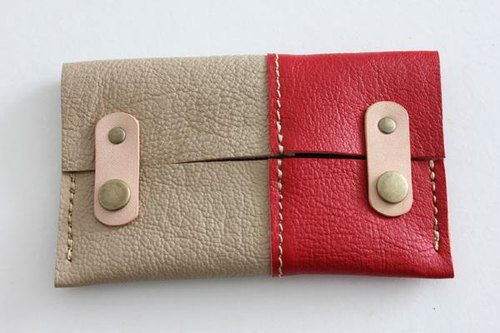 Leather of tissue case / beige × Red