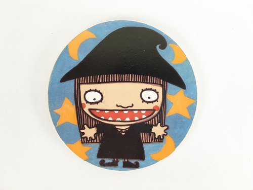 Nice Little Clay illustration absorbent ceramic coasters _ cute witch 5706