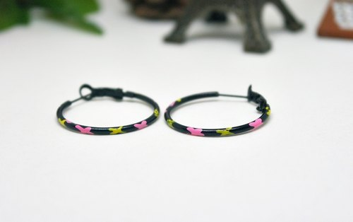 * _ * Colorful butterfly alloy ring type pin earrings ➪ Limited X1