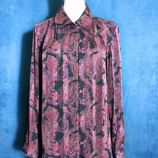 Totem textured long-sleeved vintage shirt / brought back to VINTAGE abroad