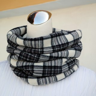 Black and white gray plaid warm collar short scarf neck sleeve double-sided color men and women are applicable*SK*
