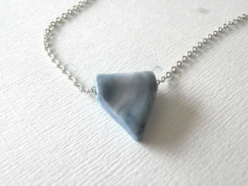 White and Blue Triangle Ceramic Necklace