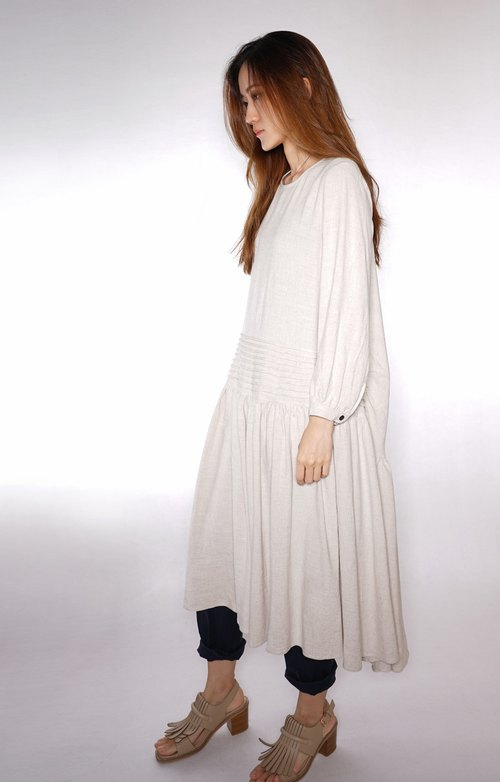 OUD original. XS-XXL/ Customized Size. Linen-cotton Dress With Pleated Detail