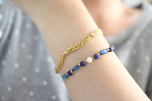 Greek Island~Sea shell/ Lapis/ Brass handmade bracelet