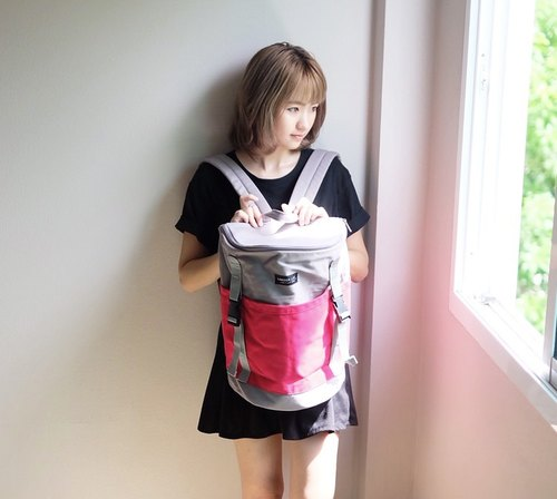 Backpack (Grey-Deep Pink)