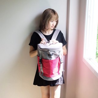 Backpack (Grey-Deep Pink).