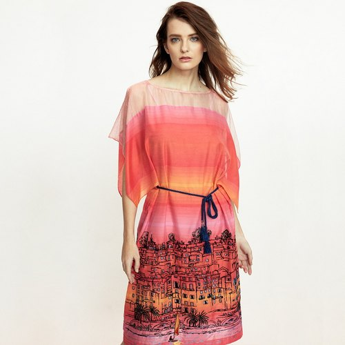 Sunset city view embroidery print dress