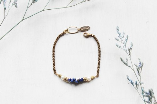 September birthstone -Lapis lazuli lapis lazuli pearls smile irregular series of copper bracelets