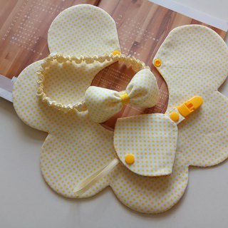 Yellow Dot Gift Moon Flower Bib + Bow Hair Band + Combo Pacifier
