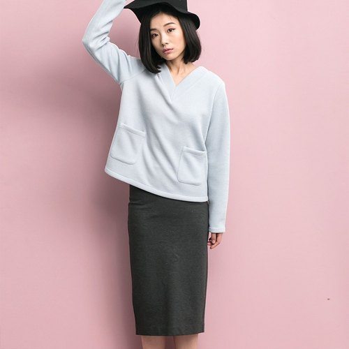 Annie Chen was thin Korean loose long-sleeved v-neck shirt + dress after split skirts (suit)
