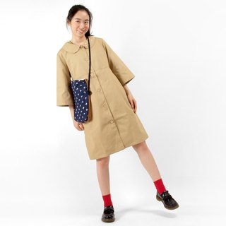 Comma dot punctuation small round neck dress / windbreaker jacket - classic khaki