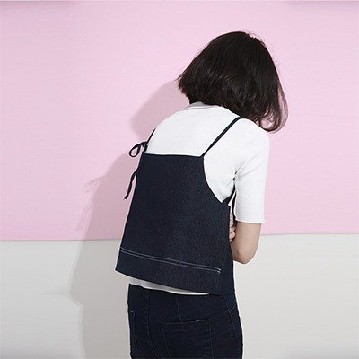 Wood drain Day / komorebi original design fine denim vest harness small camisole vintage denim jacket