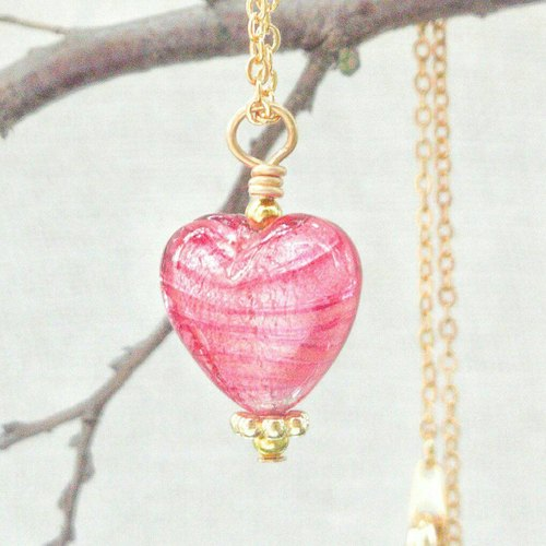 [Venetian Glass Beads] Pink Silver Foil Murano Glass Heart Bead Necklace