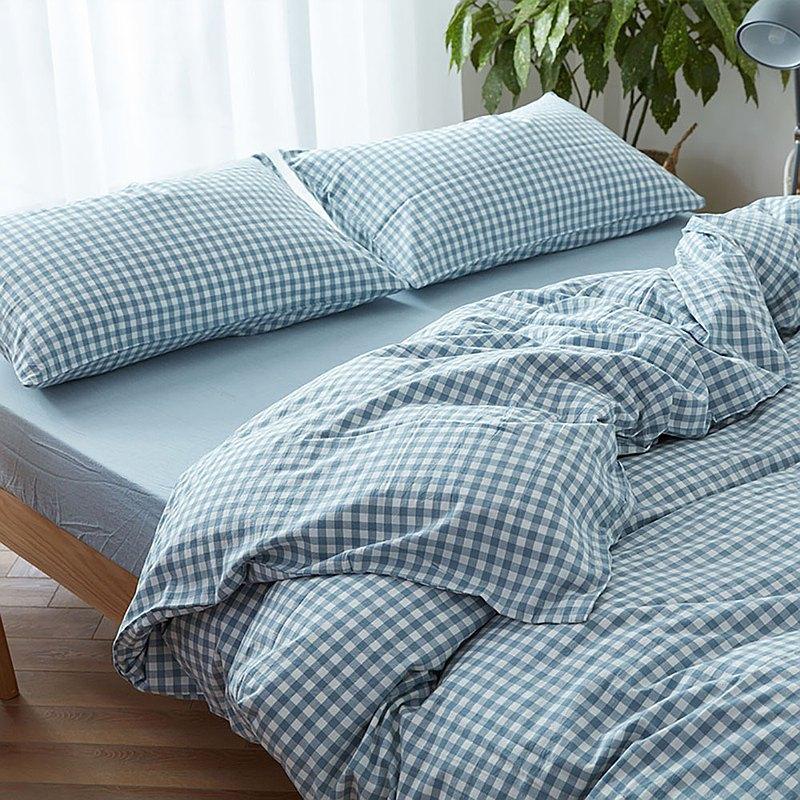 小方格藍 水洗棉 標準雙人四件組床包(台灣尺寸)