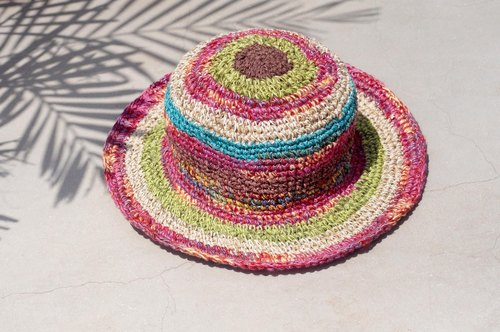 A limited edition of hand-woven cotton cap / knit cap / hat / visor / hat - Magic colorful cranberry cream stripes
