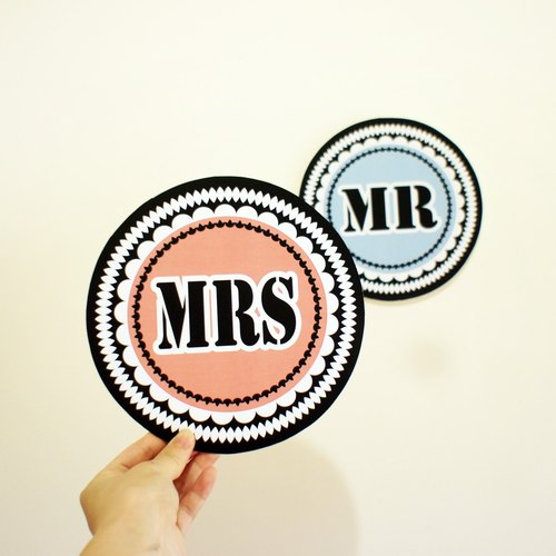 Lovely wedding props MR + MRS / we are husband and wife