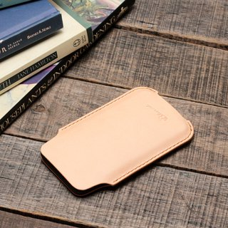 Minimal primary color yak leather handmade iPhone case / bare machine / card holder