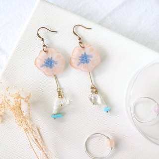 Flower Collection Handmade Earrings - Playful Crystal Nao Amazon Stone Can Change Clip