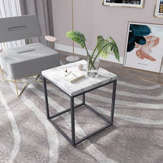 White marble embossed coffee table small side table