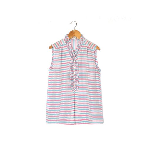 [Egg plant ancient] pink candy stripes printed sleeveless ancient shirt