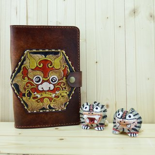 Peaceful lion hand made leather notebook book book book book clothing safety lion (plus gift bookmark)