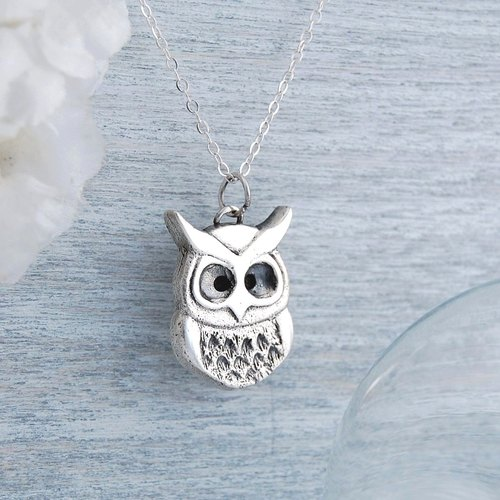 Owl Mask (silver necklace, imitation leather cord bonus)