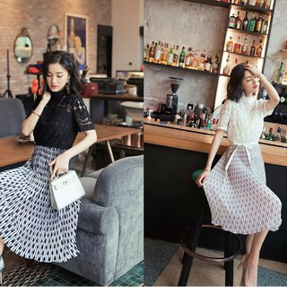 Printed translucent waistband dress 2 colors
