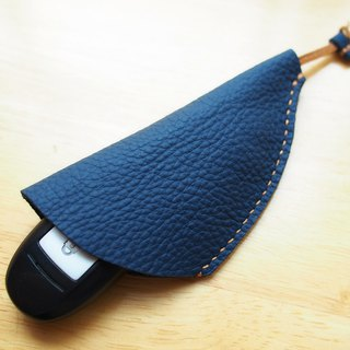 Handmade genuine leather navy blue key holder pouch