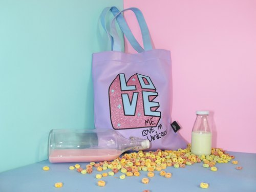 Love me love my unicorn Leather totebag