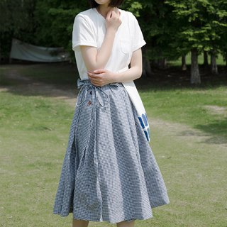 Japanese blue and white pleated skirt | skirt | linen | independent brand |Sora-140