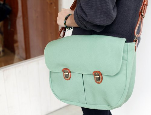 [As] a good day hand forest green canvas bag