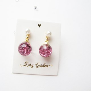 Rosy Garden pink glitter with water inside glass ball earrings