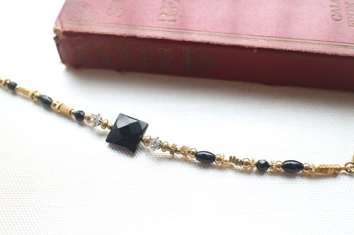 The polar lights~ Black agate/ brass handmade bracelet