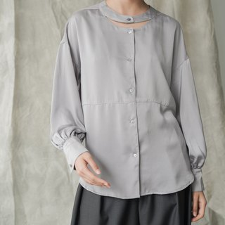 Self-contained smiley face | water gray design sense of temperament shirt stand collar lantern sleeves simple long-sleeved shirt