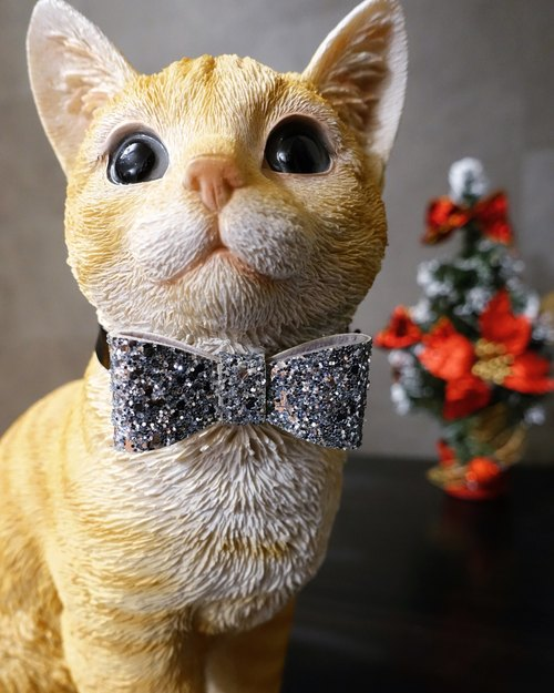 2016 Christmas Limited ornate gold silver bow pet collar type customization