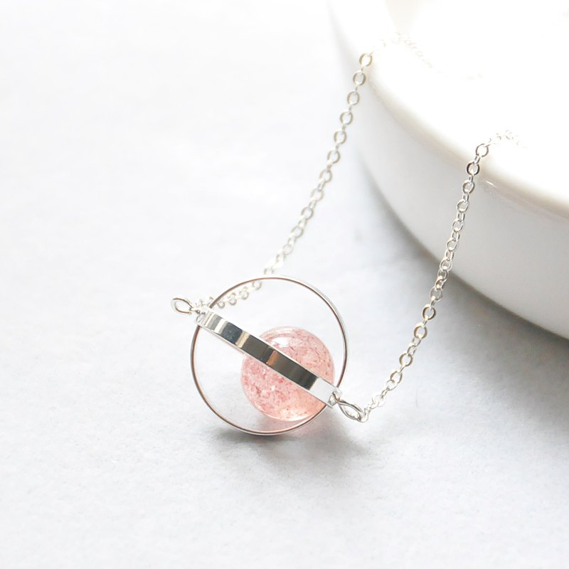 Silver Ring Strawberry Crystal Necklace Love Planet Galaxy Sliver Birthday Present Girlfriend Gift Sister