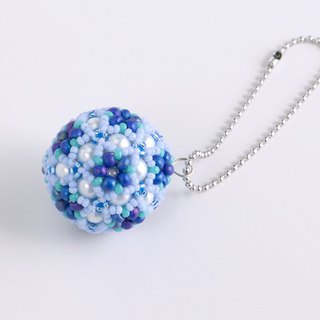 Blue & Green christmas ornament, star flower ball charm, beaded ball, star ball key chain, beadwork, beaded sphere, 379