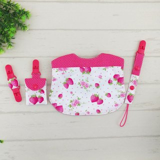 Strawberry garden. Fu bag + pacifier chain + handkerchief clip + bib (fudable bag can be increased by 40 embroidered characters)